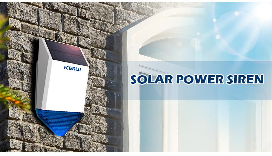Kerui Sj1 Wireless Solar Siren For Gsm Alarm System