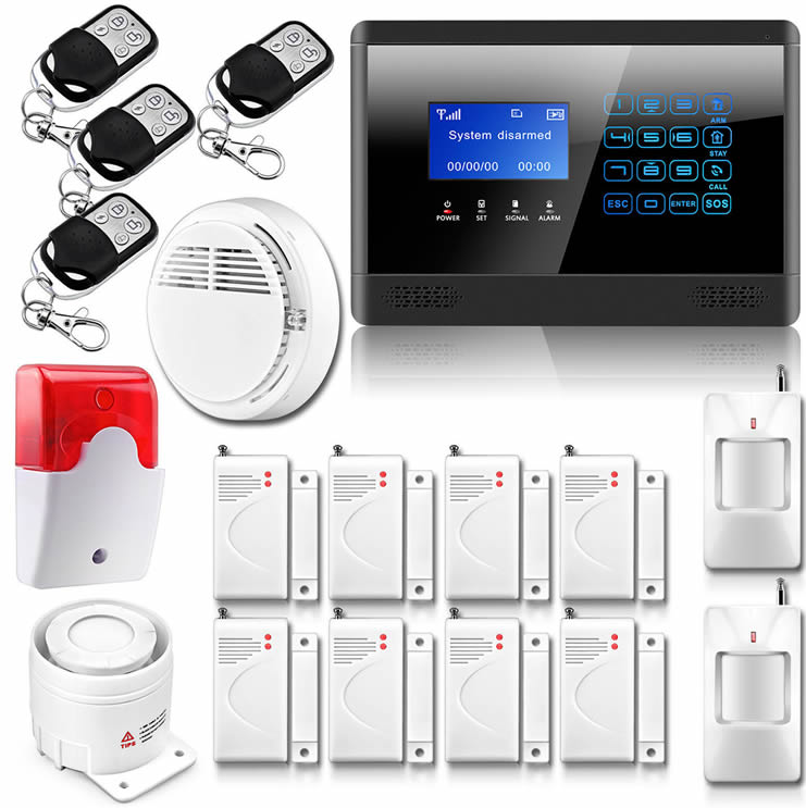 wireless wired lcd touch keypad gsm sms home house alarm ... on